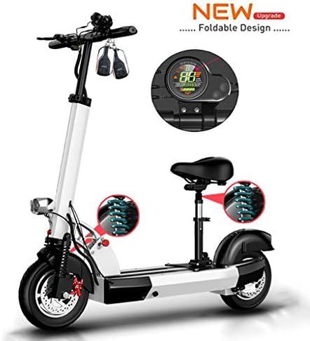 電動スクーター大人、400Wモーター、LCDディスプレイ、USB充電器、40kmの長距離、10インチ空気入りタイヤE-スクーター、ポータブルおよび調整可能なデザイン、最大負荷200kg