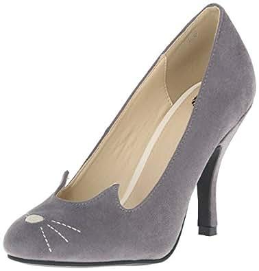 T.U.K. Women's Sophisticated Cat Bombshell Heel Slide Pump, Grey, 6 M US