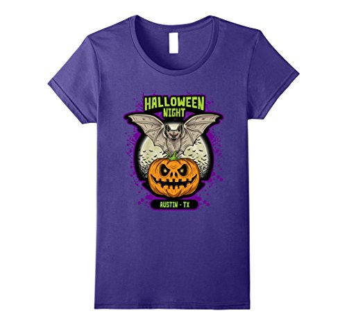 Womens Halloween Night Austin TX TShirt Bat Jack-O-Lantern Pumpkin XL Purple