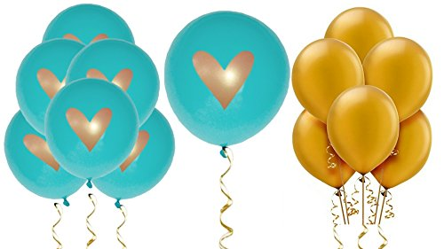 Teal Balloons Party Decorations Supplies Gold Ink Heart Love 12quot Latex Wedding Decoration Kit Proposal Valentine#039s Bridal Shower Bachelorette Celebration Anniversary Peacock Theme Party