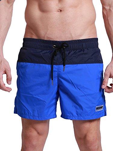 Waistband Elastic Drawstring Polyester (Neleus Men's Lightweight Swim Trunks Beach Shorts with Pockets,805,Blue & Black,USA L,Tag 2XL)