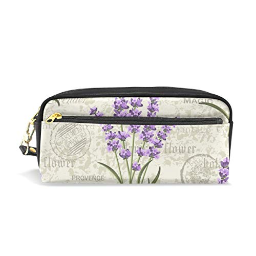 Depaga Seamless Floral Pattern Lavenders On Vintage Leather Pen Pencil Case Pouch Holder Cosmetic Makeup Bag for Women Student Teens