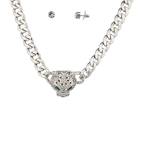 Lux Accessories Pave Panther Chain Link Bling Necklace Matching Stud Earrings