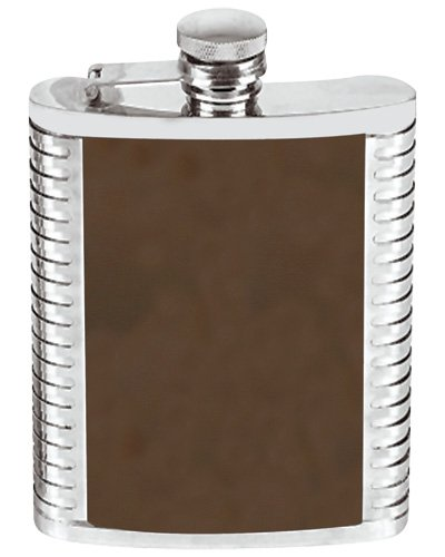 (8 Ounce Stainless Steel Hip Flask Ribbed and Leather Design Brown in an Attractive Gift Box)