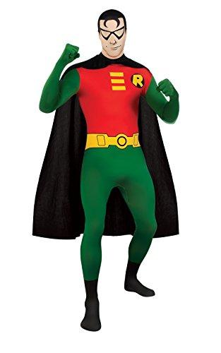 DC Comics Adult Robin 2nd Skin Zentai Super Suit, Green/Red, Medium Costume - Adult Deluxe Robin Hood Halloween Costumes
