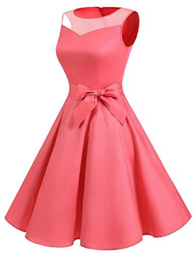 See Dress Women Classic Dress Illusion Through Rockabilly Coral DRESSTELLS Retro Cocktail dY6xgIwYq