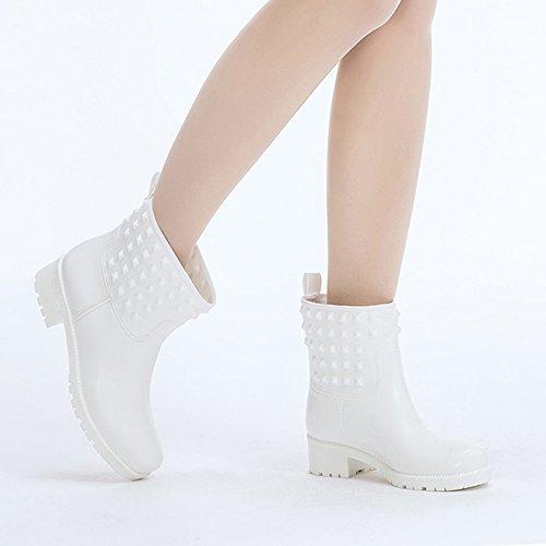 Rivet DKSUKO White Women's Ankle Rubber Rain Short Colors 6 Fashion Boots Waterproof Boots with fF1qf