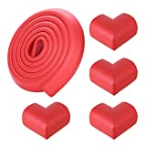 Child and Corner Cushion[6.5ft Edge + 4 Corners] - Childproofing Guard Child Home Furniture Safety Bumper Baby Proof Table Protector- Red
