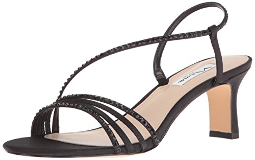 - Nina Women's Gerri-Ls Dress Sandal, Black Lus Sat/Black Stone, 8.5 M US
