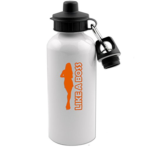Like A Boss Girl Silhouette 20 OZ White Aluminum Water Bottle (ORANGE) Boss Orange White Rubber