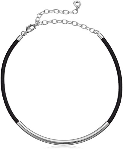 (Anne Klein Silver-Tone and Black Leather Choker Necklace, 12