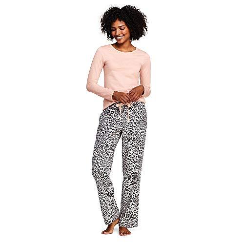 Lands' End Women's Knit Flannel Pajama Set, M, Ivory Cheetah