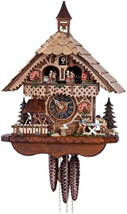 H nes Cuckoo Clock Black Forest house with moving wood sawers and mill wheel