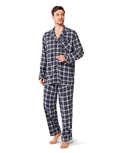 SIORO Men's Flannel Pajamas Sets 100% Cotton Plaid Sleepwear Soft Long PJ Set Loungewear, Navy and White Plaid, L