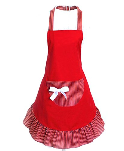 Hyzrz Cute Girls Bowknot Funny Aprons Lady's Kitchen Restaurant Women's Cake Apron with Pocket (Red)