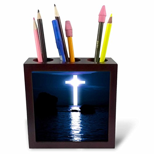 3dRose TDSwhite – Miscellaneous Photography - Cross Over Water at Night - 5 inch Tile Pen Holder (ph_285323_1) by 3dRose