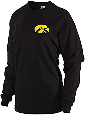 Official NCAA University of Iowa Hawkeyes ON IOWA HERKY THE HAWK Womens Long Sleeve Tri-Blend Football Tee