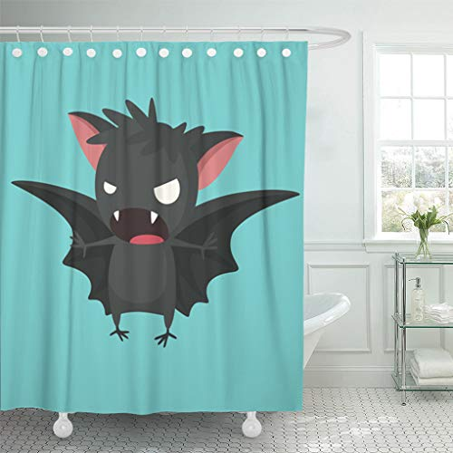 Emvency Shower Curtain 66x72 Inch Home Decor Bathroom Animal Halloween of Bat Vampire Open Wings Clipart Cartoon Shower Hooks Set are Included -
