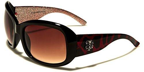 Kleo Designer femme IMPRESSION ANIMAL rectangle Lunettes de soleil Mode Sport conduite UV400 Protection Cabine de plage lunettes de soleil microfibre poche inclus Rouge