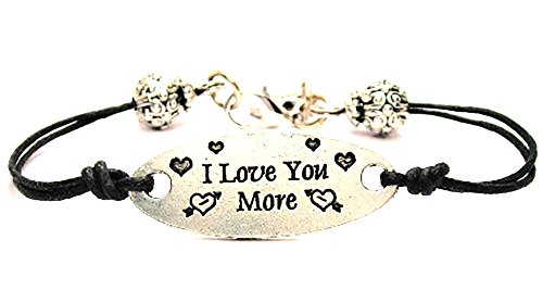 Bracelets Beaded Pewter - I Love You More Black Cord Connector Pewter Beaded Bracelet