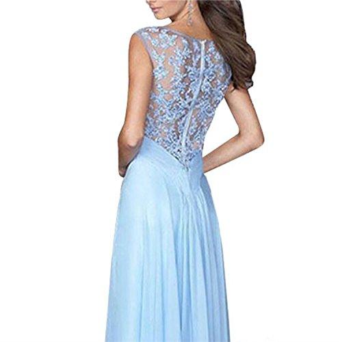 Dress Elegant Maxi L Lace Noctflos Sleeveless Women's Patchwork Chiffon FZwS0