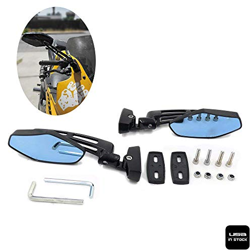 - Motorcycle Racing Rearview Mirror Fit For Honda Suzuki Kawasaki Cruiser Chopper Sports Blk