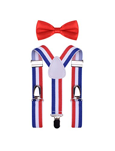 BODY STRENTH Kids Boys Girls Suspenders and Bow tie Set Blue Red White (Red White And Blue Suspenders)