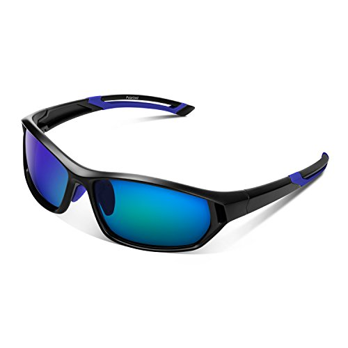 Polarized Sport Sunglasses For Men Women Youth UV400 Protection Lightweight Baseball Golf Running Fishing Riding With Case Blue -