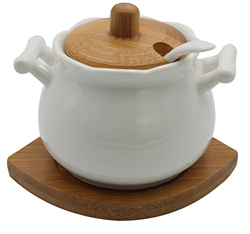 Vintage Ceramic Sugar Bowl With Spoon Bamboo Lid And Base White Home And Kitchen Elegant Design