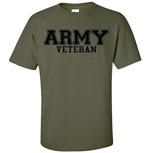 (ZeroGravitee Army Veteran Black Logo Short Sleeve T-Shirt - Military Green - Large )