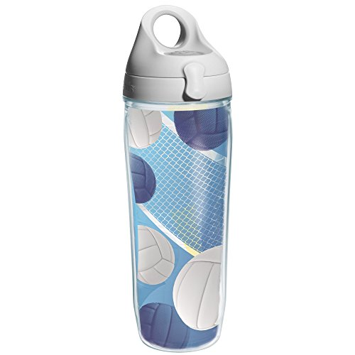 Tervis Serving it Up Wrap and Water Bottle with Grey Lid, 24-Ounce, Beverage (Serving Wrap)