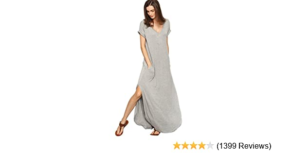 2349a6f8cdd0 Verdusa Women s V Neck Side Pockets Split Hem Beach Long Maxi Dress at  Amazon Women s Clothing store