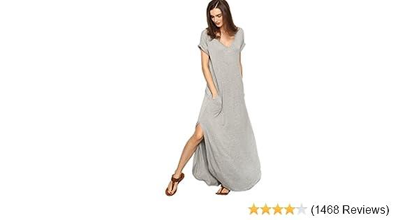 41765ec9317 Verdusa Women s V Neck Side Pockets Split Hem Beach Long Maxi Dress at  Amazon Women s Clothing store
