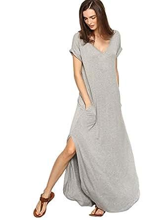 Verdusa Women's Casual V Neck Side Split Beach Long Maxi Dress A&Grey XS