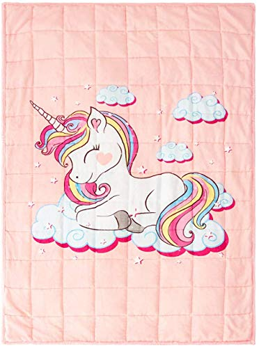 BUZIO Weighted Blanket 12lbs, Unicorn Fleece Blanket 48x72inch for Adults 110lbs-140lbs, Ultra Soft and Cozy Kids Blanket, Great for Calming and Sleep, Pink