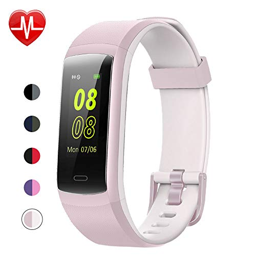 YAMAY Fitness Tracker, Fitness Watch Heart Rate Monitor Activity Tracker,Color Screen Dual-Color Bands IP68 Waterproof,with Step Counter Sleep Monitor 14 Sports Tracking for Women Men(Pink-White)