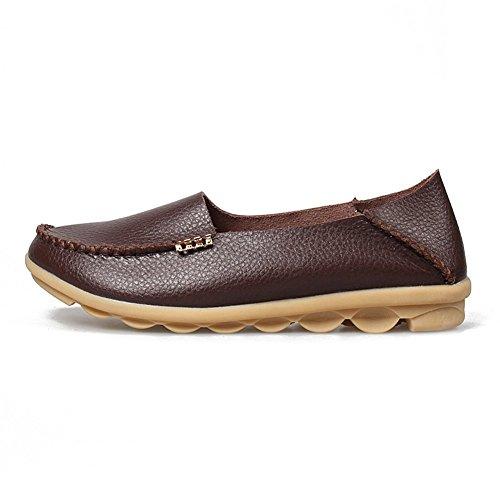 Chaussures De Conduite En Cuir Legit Femmes Mocassins Bateau Chaussures 9.5b (m) Us Café