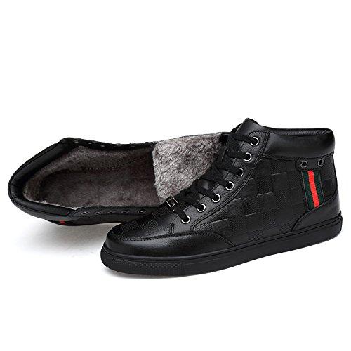 LOVDRAM Männer Schuhe Herbst Und Winter Männer Leder Baumwolle Schuhe Leder Männer Hohe Männer Stiefel Leder Casual Dicke Lederstiefel 77c17e