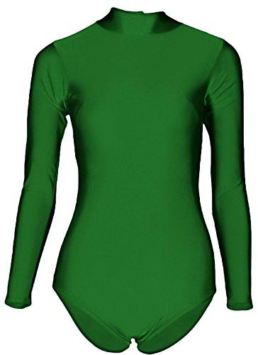 Marvoll Women's Lycra Long Sleeved Turtle Neck Ballet Tap Dance Leotard (Small, Green)