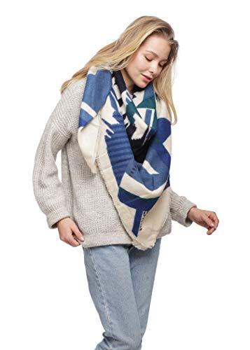 Women's Warm Oversized Checked Tartan Blanket Scarf Wrap Shawl With Brooch (OneSize, 7179-Navy)