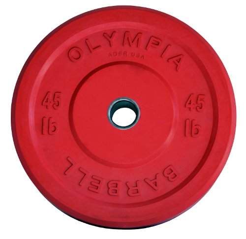 45 LB Solid Rubber Weight Plates Red Pair by Ader Sporting Goods