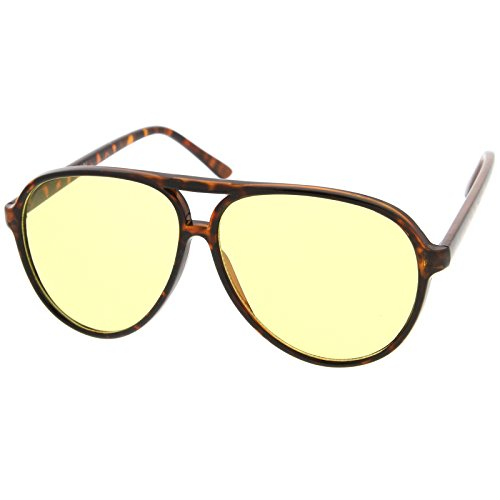 zeroUV - Retro Large Plastic Aviator Sunglasses with Yellow Blue Blocking Driving Lens (Tortoise / - 70s Sunglasses