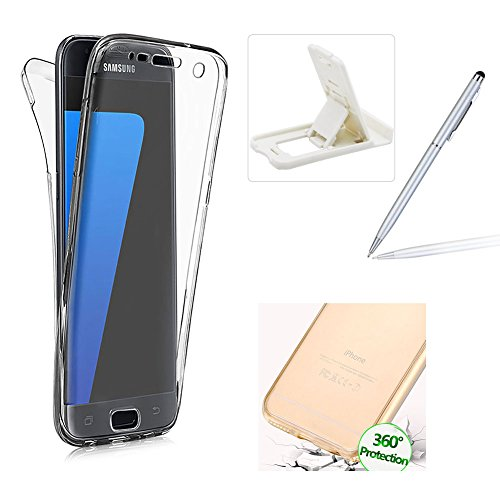 Case for Samsung Galaxy S8,Silicone TPU Cover for Samsung Galaxy S8,Herzzer Ultra thin Soft TPU Gel Slim Fit Scratch Resistant Front and Back Full Body 360 Degree Protective Case for Samsung Galaxy S8 + 1 x Free White Cellphone Kickstand + 1 x Free Silver Stylus Pen - Clear
