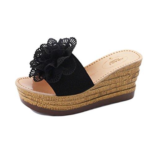 Flores Bohemias K Plataforma Zapatillas Al Chanclas Mujer Playa Zapatos Mujer Sandalias Mujer Negro Aire Verano Cuñas Antideslizante Interior Verano Sandalias De Libre y para Youth OOw6fZ