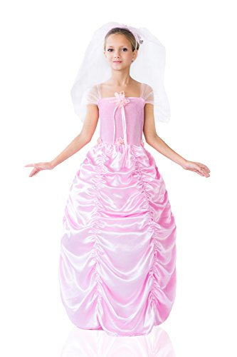 Kids Girls Pink Bride Halloween Costume Princess of Roses Dress Up & Role Play (6-8 years, pink,
