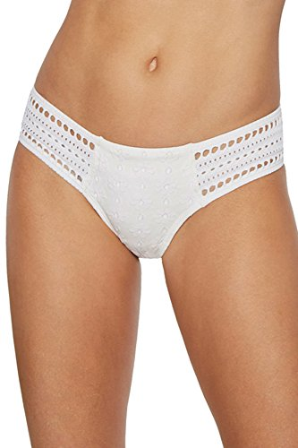 Robin Piccone Women's Clarissa Crochet Tab Side Hipster Bikini Bottom White S