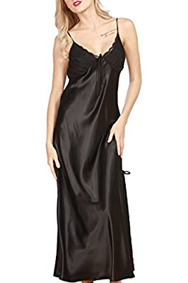 Women's Pajamas Satin Nightgown Long Sleeveless Sleepwear Slip Night Dress