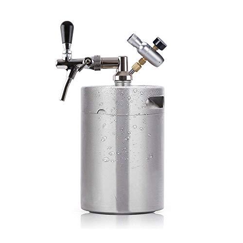 Seeutek Pressurized Growler for Craft Beer 5 Liter Dispenser System Beer Keg CO2 Adjustable Draft Beer Faucet with Perfect Pour Regulator - Stainless Steel