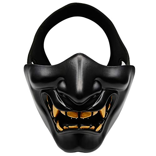 SHEAWA Halloween Half Face Mask Cosplay Costume Party Tactical Airsoft Mask Motorcycle TPU Mask for Men Women]()