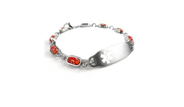 Millefiori Glass Medical ID Bracelet Black//White Pattern Blank White Made in USA My Identity Doctor
